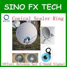 Wholesale Ku Band Satellite Dishes - free shipping c band aluminum Conical Scalar Ring Kit bracket without lnb for Ku offset satellite dish antennas