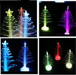 Wholesale Solid Acrylic Ornaments - Christmas Optical Fiber Led Light Tree Colorful Christmas Flash Night Lights Trees With Stars Flashing Bar Party Decorations Gifts Free Ship