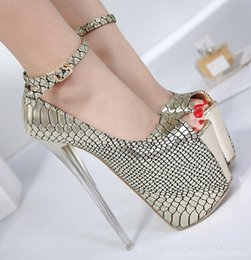 Wholesale Best Platform Shoes - best selling Zapatos Mujer Tacon 18cm Heel Shoes Womens Gold High Heels Sexy Peep Toe High Heel Pumps Women Ankle Strap Platform Shoe