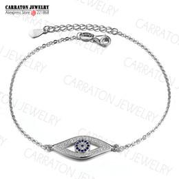 Wholesale Sterling Silver Evil Eye Charms - Wholesale-Full CZ Solid 925 Sterling Silver Evil Eye Hamsa White Blue Crystals CZ Women's Charm Bracelet