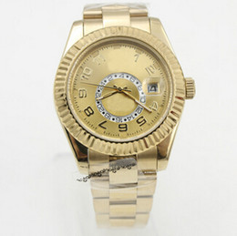 Wholesale Top Men Silver Ring - Swiss Top Brands Gold 18K Sky-Dweller Luxury Mens Stainless Steel Watches Inner Ring Rotation President Men Automatic Mechanical Wristwatch