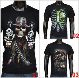 Wholesale Digital Printed Tops - 2015 Fashion Men's Summer T-shirt Skull Digital Logo Cotton Casual Short-sleeved Black Stylish Basic Casual Tops Tee F058 1p