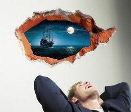 Wholesale Wall Decal Sea - Extra Large Sticker 3D Wall Decals Vinyl Pirate Ship Night Sea Mural Art Removable Fashion Home Decoration 70*100cm
