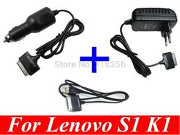 Wholesale Lenovo K1 Adapter - Wholesale-18W EU plug AC wall Charger + car Charger +USB cable Power Adapter For Lenovo IdeaPad K1 S1 Tablet