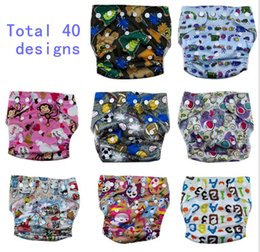 Wholesale Free Baby Nappies - New toddler Print Diapers Cover Cloth Pants Designs Patterns Reusable All IN ONE baby infant boys girls Nappy 0-3T Free shipping