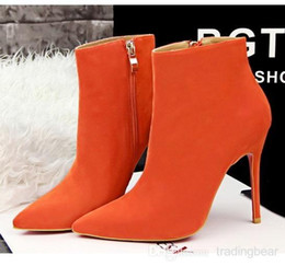 Wholesale Burgundy Pumps For Women - Multi-colors orange pointed high heel suede boots fashion ankle boots for women pumps shoes size 34 to 38