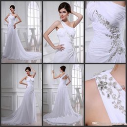 Wholesale Cheap One Sleeve Wedding Dresses - Cheap in stock hot sale 2015 New Arrival Sheath High Quality Wedding Dresses One Shoulder white chiffon backless Sweep Train new design sexy