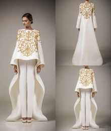 Wholesale Stain Flower - Two Pieces Evening Dresses Vintage Long Sleeve Arabic Robe Muslim Formal Dresses Golden Embroidery Flowers White Stain (Pants free)