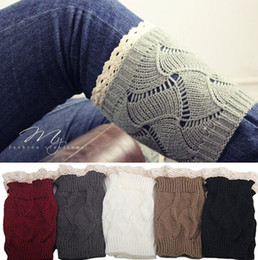 Wholesale Lace Trim Ankle Socks - crochet leg warmers lace trim short boot cuffs womens boot socks lace winter knitted leg warmer for women fashion women free shipping