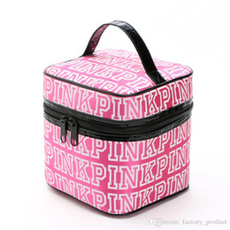 Wholesale Wholesale Girls Cosmetic Bags - Love Pink Cosmetic bag pink Letter makeup train case Bags Double Zipper women girls Handbag Portable Storage Bags christmas gifts for girl