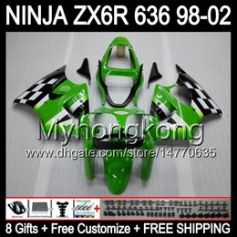 Wholesale Kawasaki Zx6r Fairings Black Green - 8Gifts+ Body For KAWASAKI NINJA ZX6R 98-02 Green black ZX636 ZX 636 MY36 ZX-6R ZX 6R 98 99 00 01 02 1998 1999 2000 Green 2001 2002 Fairing