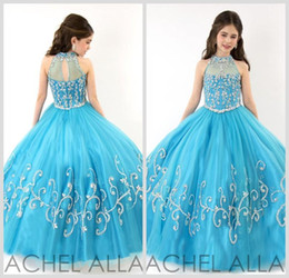 Wholesale Girls Long Glitz Pageant Dresses - RACHEL ALLAN Girls Pageant Dresses 2016 New Sheer High Neck Tulle Blue Rhinestone Crystal Beads Glitz Ball Gown Long Flower Girls Gowns 1570