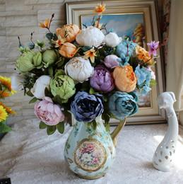 Wholesale vintage artificial wedding bouquets - 1 Bouquet 12 flower heads Vintage European Artificial Peony Silk Flowers Wedding Home Decoration 11 Colors Festival Elegant Fake Flowers New