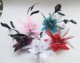 Wholesale Bridal Clips Brooches - 2015 Bridal hair accessories Feather Corsage hairwear headpiece Hair Clips pin Fascinator brooch Flower Corsage Brooch Pin Hair Band Clip