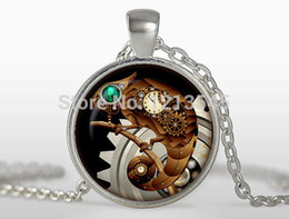 Wholesale Clock Plates - Steampunk lizard pendant personality clock Necklaces charms Silver plated pendant Jewelry FTC-N322