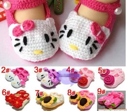 Wholesale Crochet Flowers Sold - new flower girl crochet shoes Toddler cotton Shoes Handmade infant Shoes baby First walker shoes 13 colors Hot sell 2015