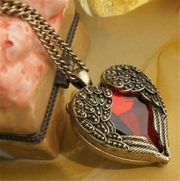 Wholesale Heart Bronze Necklace - Cheap Vintage jewelry Bronze Carved Angel Wing Red Crystal Love Heart Shape Pendant Necklace Chain Gift Retro Charm Long Necklaces Free DHL