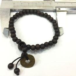Wholesale Clasps Tibetan - free shipping 1pc Buddhist Tibetan Decor Prayer beads Natural Handmade Bracelet Bangle Wrist Ornament Wood Buddha Beads Women Men Jewelry
