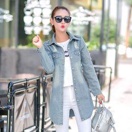 Wholesale Denim Jacket Women Xxl - Wholesale- Fashion Women Denim Jacket 2016 Autumn Long Sleeves holes Woman Jean Coat Long Casual Jackets Slim Outwear Female Clothing S-XXL