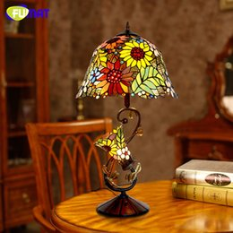 Wholesale Glass Table Stand - FUMAT Stained Glass Table Lamp High Quality European Style Sunflower Lamps Shade Lamp Living Room Bedside Stand Lamp