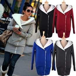 Wholesale Coat Warm Zip Up Outerwear - Retail New 2015 Korea Women Hoodies Coat Warm Zip Up Outerwear Sweatshirts M-XXL 5 Colors Black Gray Red Blue DK603WY Free Shipping