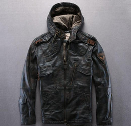 Wholesale Brown Motorcycle Leather Jacket - Camouflage AVIREXFLY leather jackets with hoody motorcycle jackets 100% Genuine leather Slim fit jacket
