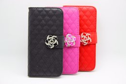Wholesale Lambskin Leather Wholesale - Rhinestone Lambskin Sheep Skin Wallet PU Leather Case Diamond Flower Stand With Credit Card Slot Holder For iPhone 6 6S Plus