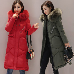 Wholesale Girls Goose Down Coats - Winter Women Goose Hooded Down Parka Fur Collar Thicken Warm Jacket Women's Coat Girls Long Slim Big Fur Jacket