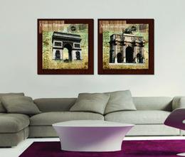 2 Pièces Livraison Gratuite Peinture Murale Art Photo Peinture sur Impressions Sur Toile Arc De Triomphe Parthénon timbre Tour Eiffel Big Ben Colisée ? partir de fabricateur