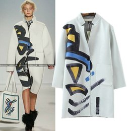 Wholesale Space Art Paintings - Fashion Women Coat 2017 Autumn Runway Brand Novelty Geometric Art Painting Print Space Cotton Coat Long Coat Casacos Femininos 5127