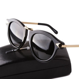 Wholesale Arrow Sun - Wholesale-2016 New Fashion Brand Karen Women Round Frame Metal Arrow Polarized Sunglasses Men Walker Driving Sun glasses Lunettes de