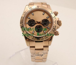 Wholesale Automatic Chronograph Movement - Super Original Box Papers Sapphire Wristwatches 40MM Rose Gold Dial Cosmograph 116505 Automatic Movement Watch Watches No Chronograph