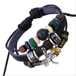 Wholesale Dragonfly Charm Stainless Steel - New Arrival! DIY Handmade Infinity Personality Fashion Dangle Retro Dragonfly Charm For Men Beaded Leather Bracelets Jewelry