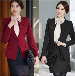Wholesale Grey Skirt Wear - Elegant OL Women Plus Size Suits Blazers with Skirts Pants for Work wear Long Sleeve Slim Clothes DK803F