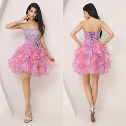 Wholesale Graduation Dresses Free Shipping - Free Shipping 2015 Short Homecoming Dresses Cheap Ball Gown Mint Organza Sweetheart Corset Beading Lilac Prom Party 8th Graduation Dresses
