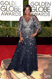 Wholesale Natural Viola - Viola Davis 2017 Golden Globe Award Evening Red Carpet Dresses Sheer Neck 3 4 Sleeve Floor Length Majoy Beading V Neck