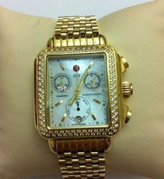 Wholesale Diamond Encrusted - free shipping MICHELE DECO CHRONO YELLOW GOLD CUSTOM DIAMOND ENCRUSTED WATCH MW06P00A9046