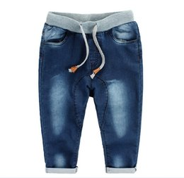 Wholesale Harem Jeans Boys - 2016 Baby Boys Washed Denim Jeans Harem PP Crochet Pants Trousers Childs Clothing Cowboy Pants Kids Blue KB121