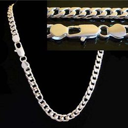 Wholesale 925 Sterling Silver Collar Necklace - 16inch-30inch choose Free Shipping Promotion Men's Jewelry High Quality 925 Sterling Silver Necklaces 4MM Chain Necklace For Men collar