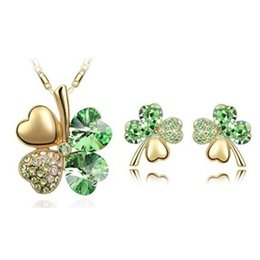 Wholesale Rose Gold Stud Earrings China - ARBITRARY COLLOCATION OF CLOVER JEWELRY SET !!! ,NACKLACE , ESR STUDS ROSE GOLD PLATED CRYSTAL SET -A14B14
