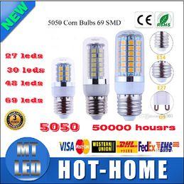 Wholesale Chip Beam - X5 sample LED bulbs SMD 5050 chip cron lamp E27 E14 B22 G9 69led 27leds 36les 48leds 7W 9w 12W 15w 360 beam angle led corn lamp bulbs