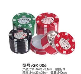 Wholesale Poker Grinders Wholesale - Metal herb poker grinder 3 parts 42mm*31mm herbal tobacco cnc teeth filter net dry herb vaporizer pen vaporizer vapor e cig DHL Free