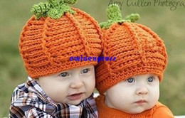 Wholesale Handmade Boys Winter Hats - Cute Pumkin baby hats caps Infant Toddler winter Crochet hats Beanie Handmade Knitted Hat children boy girl photography props gift