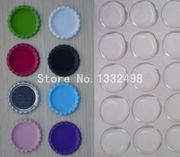 Wholesale Order Cap Stickers - Wholesale-Mix Order 100 Pcs Double Side Colored Flattened Bottle Caps With 100 Pcs Clear Epoxy Stickers For Jewerly Diy Crafts Hairbow