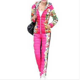 Wholesale Women Winter Down Pants - Womens Winter Jackets And Coats 2015 New Fashion Arrival Floral Slim Thick Coat + Pant Contrast Color Coat WAT270