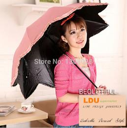 Wholesale Sun Umbrella Parasol Sale - Wholesale-2015 Quality Famous Brand Flower Shape Manual Three Folding Women Sun Uv Protection Umbrellas Parasol Guarda Chuva For Sale L01