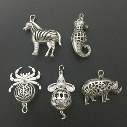 Wholesale Zebra Necklace Beads - 5pcs lot Magnetic Clasp Locket Animal Shape Spider Zebra Mouse Beads Pearl Cage Pendant Aromatherapy Necklace Jewelry Making Gift