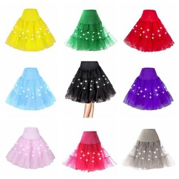 Wholesale Led Elastic Ball - 13 Colors Sexy Lady LED Skirts Knee Length Skirts Solid Tulle Ball Gown Jupe Saias Waist Elastic Ladies LED Dancing Skirt CCA8105 50pcs