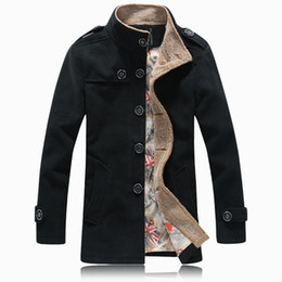 Wholesale Mens Wool Jacket Pea Coat - Fall-Hot Sale 2015 Fashion Winter Mens Jackets Coats High Quality Wool Trench Coat Men Parka Coat Male Stylish homme Pea Coat 5XL