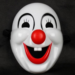 Wholesale movie masquerade - Masquerade Clown Red Nose Movie Clown Jester Mask Plastic Clown Mask for Party Christmas Halloween Fashion
